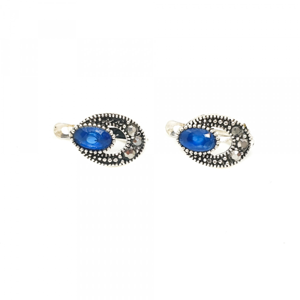Cercei din argint Wanda, marcaste si cristale zirconiu albastre
