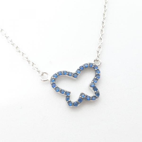 Colier argint fluture albastru