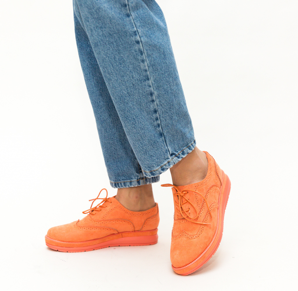 Pantofi orange casual imitatie piele intoarsa