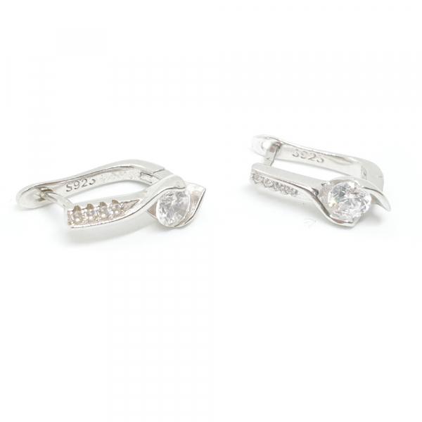 cercei argint cristale zirconia albe inserate