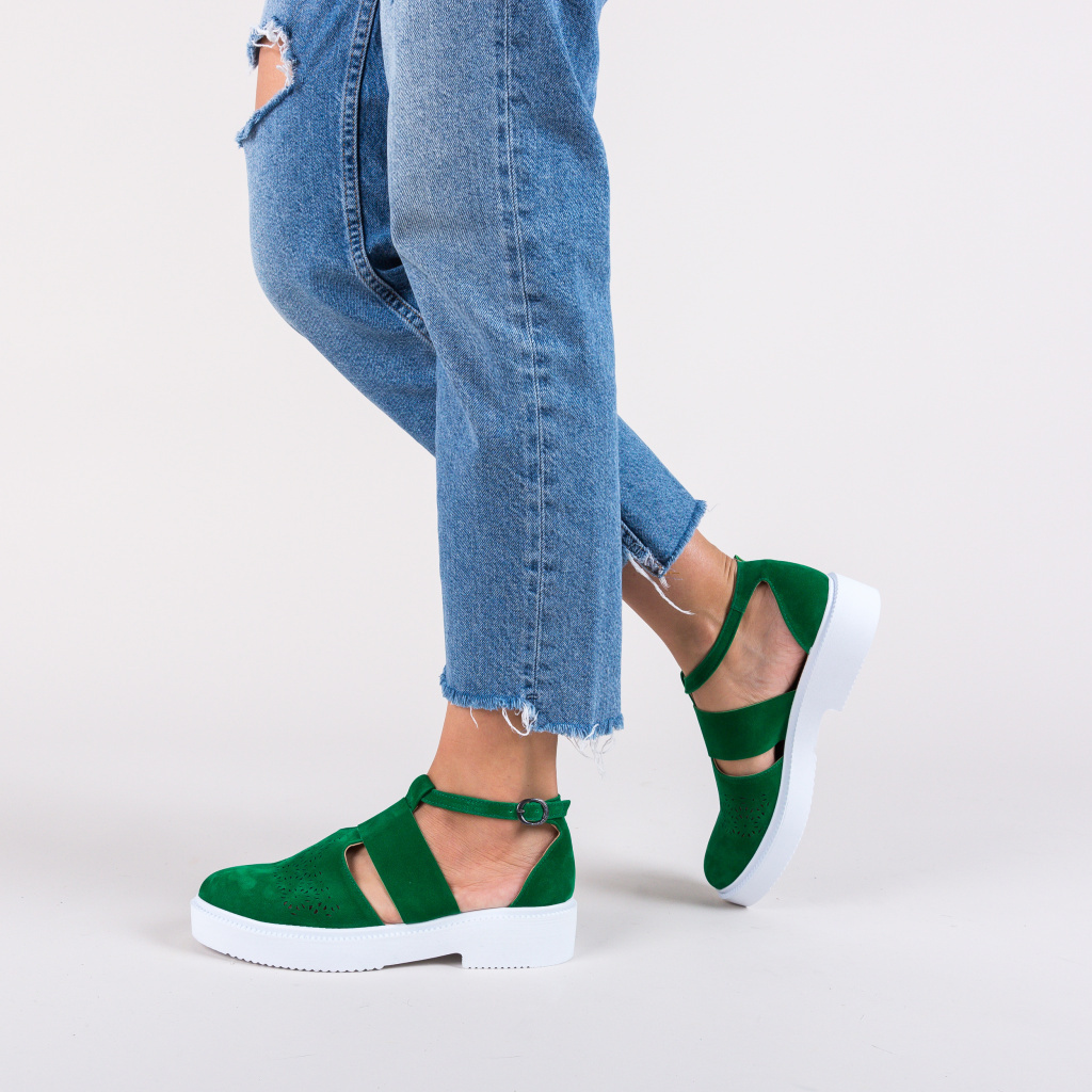 pantofi decupati casual verzi