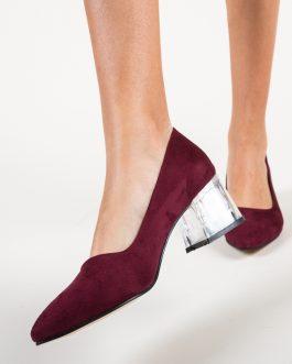 pantofi grena piele eco intoarsa