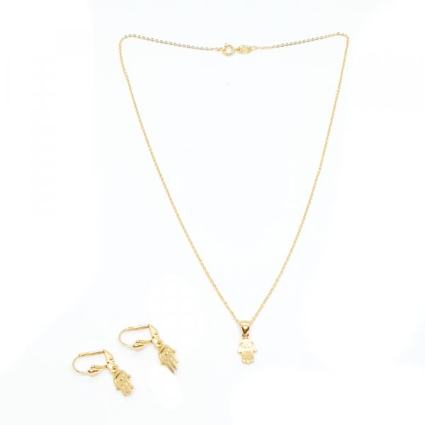 set bijuterii placate cu aur, simbol Mana Maicii Domnului Hamsa, colier, cercei, pandativ