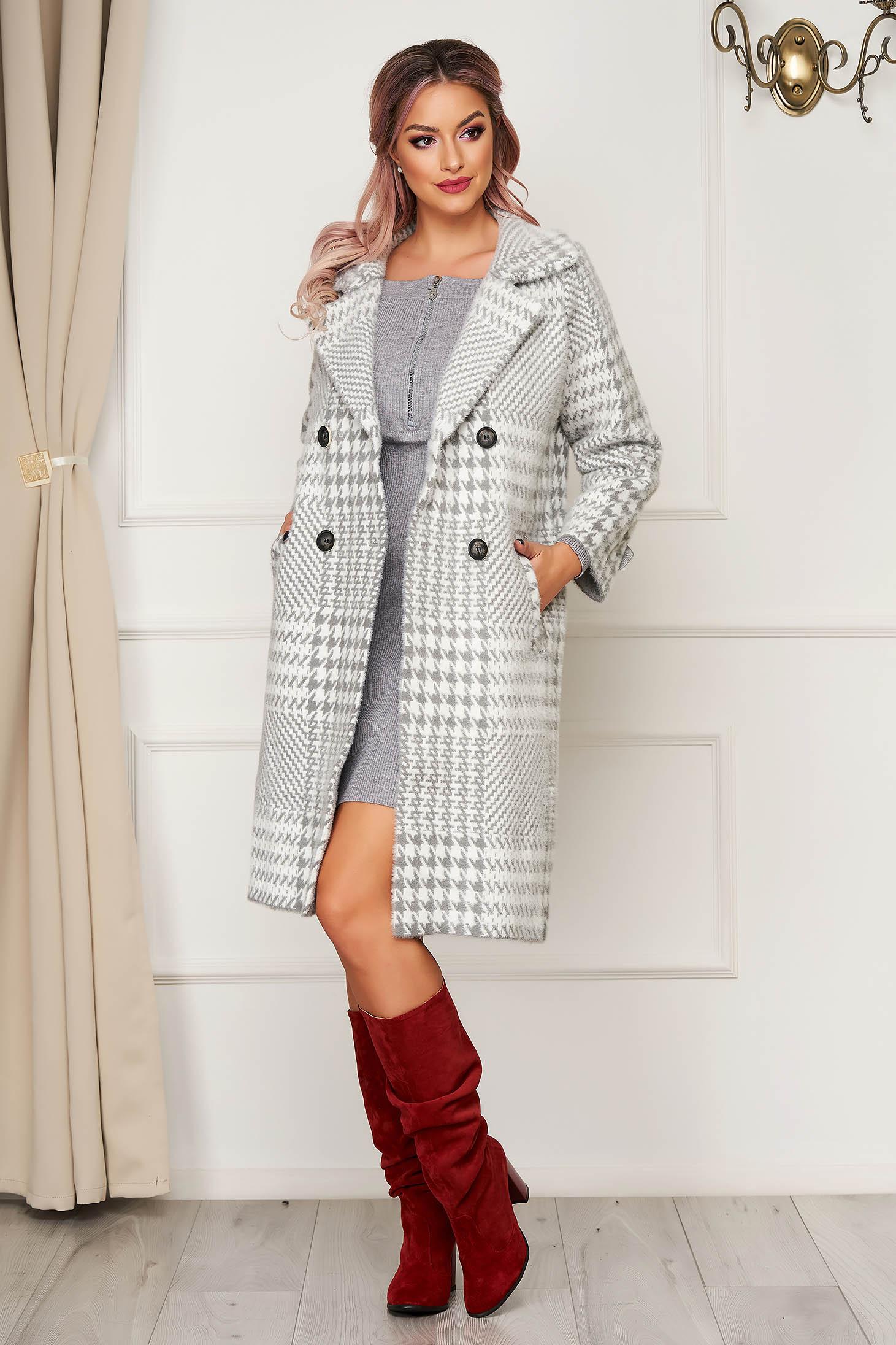 Palton SunShine gri elegant din lana cu croi larg in carouri