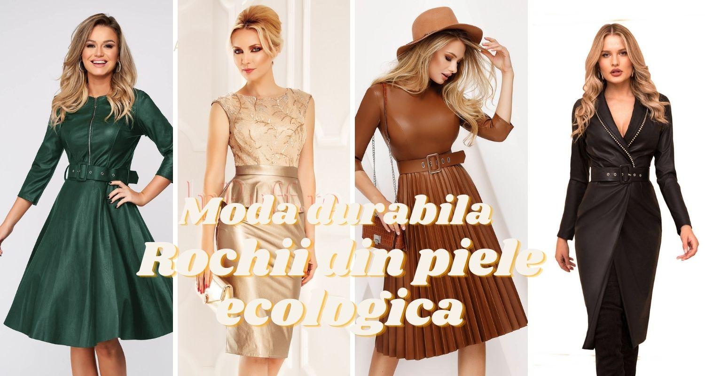 Moda durabila. Rochii din piele ecologica, sezonul toamna-iarna 2020-2021