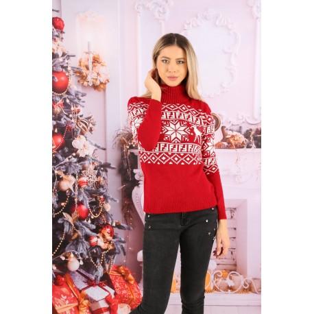 Pulover tricotat rosu cu motive de iarna
