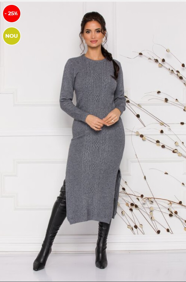 Rochie gri tricotata cu torsade