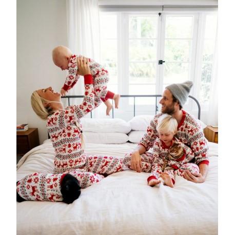 Set rosu de pijamale de Craciun pentru dama si barbat
