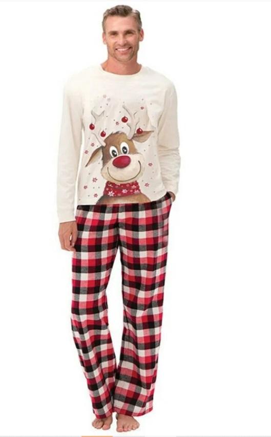 pijama de Craciun pentru barbat, cu Rudolf si pantaloni in carouri