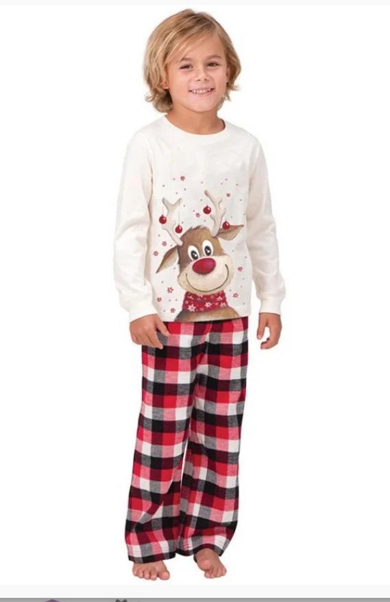 pijamale de Craciun pentru copii cu Rudolf si pantaloni in carouri