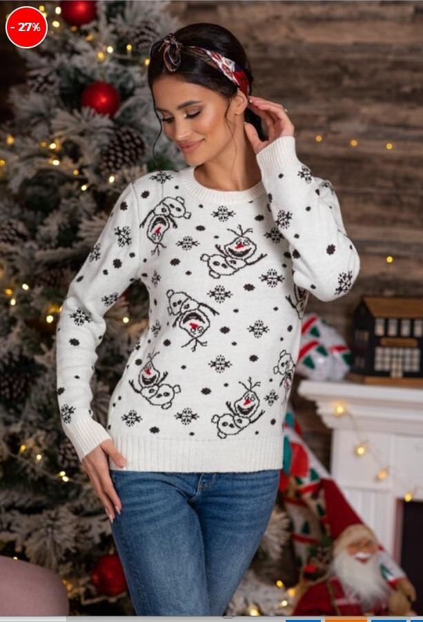 pulover cu imprimeu de iarna, alb, cu Olaf