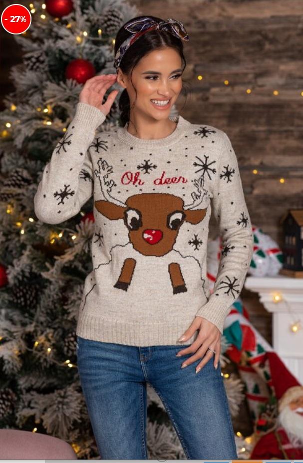 pulover cu imprimeu de iarna, bej, cu mesaj Oh Deer!