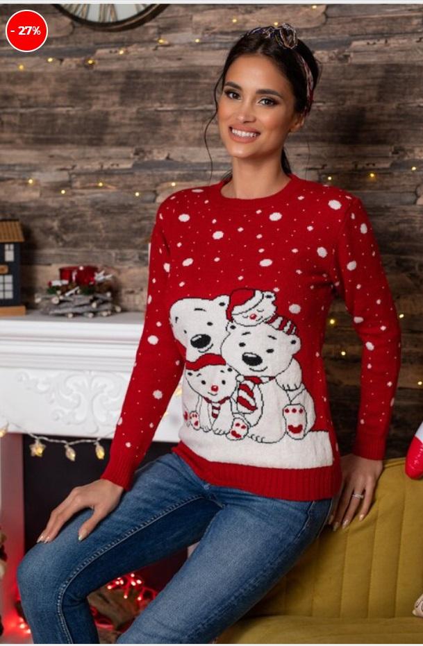 pulover cu imprimeu de iarna, rosu, cu familie de ursi polari