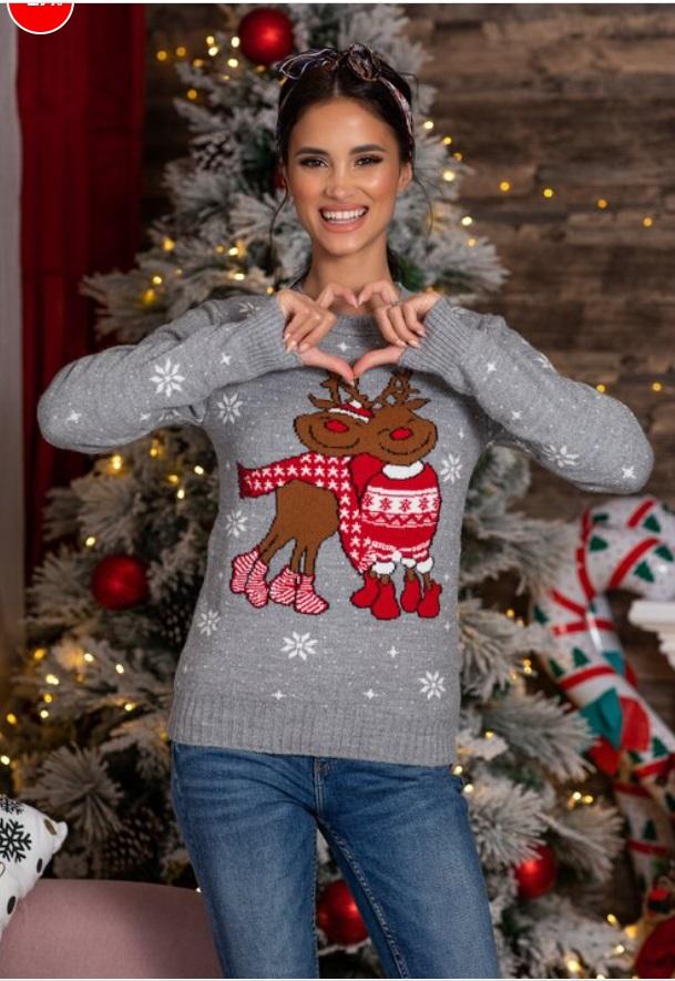 pulover imprimeu de iarna, gri, cu Rudolf