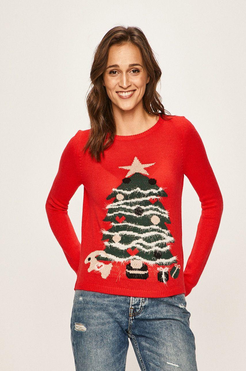 pulover rosu cu un brad impodobit, colectia Only