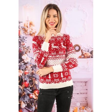 pulover tricotat, model culoare alb-rosu
