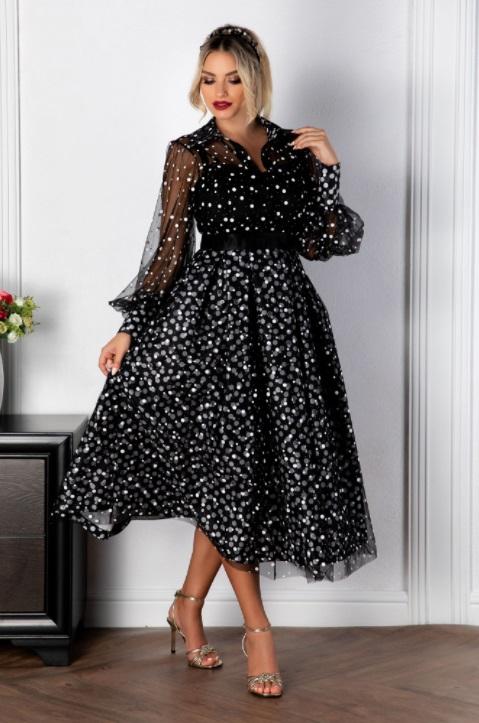 Rochie midi de ocazie cu buline, perfecta pentru serile in care vrei sa ai o aparitie de neuitat