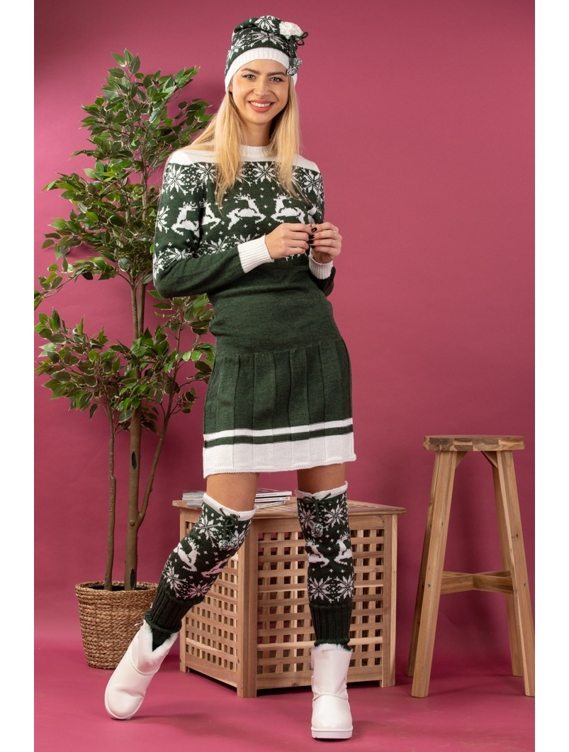 Set trei piese: rochie scurta tricotata, fes si jambiere, verde inchis, 1