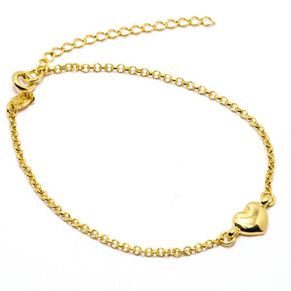 Bratara cu inimioara placata cu aur Island 18-23 cm