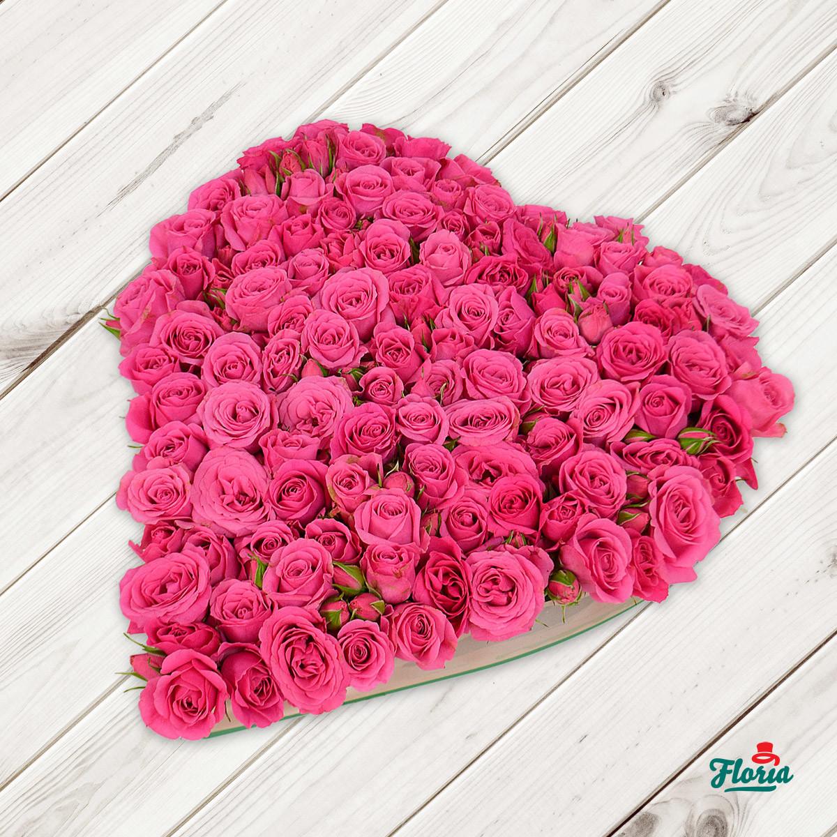 Inima din 17 minirosa roz