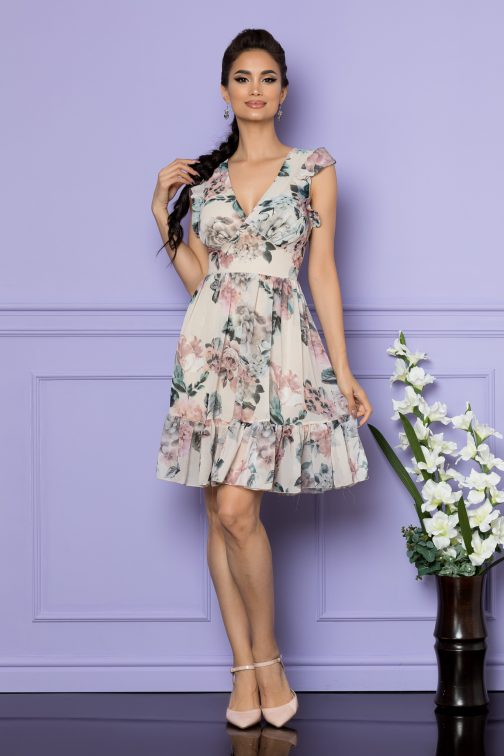 Rochie Elody Nude Floral