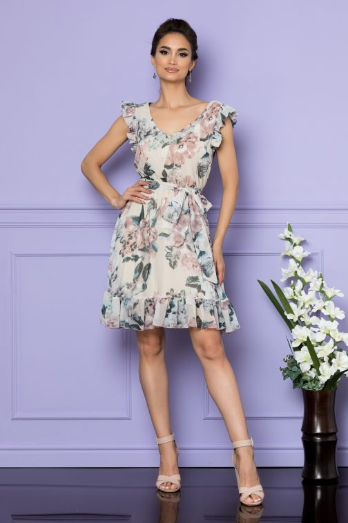 Rochie Sunny Nude Floral